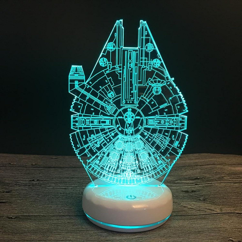 Más asequible Wmshpeds Porcelana base base base blancoa Star Wars Millennium Falcon creativo 3D luz nocturna regalos creativos pueden ser de control remoto o aadir baterías  descuento de ventas en línea