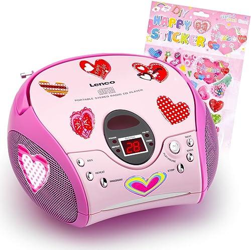 etc-shop Kinder mädchen Stereoanlage CD-Player MP3 Musikanlage Radio im Set inklusive Herzen Stücker