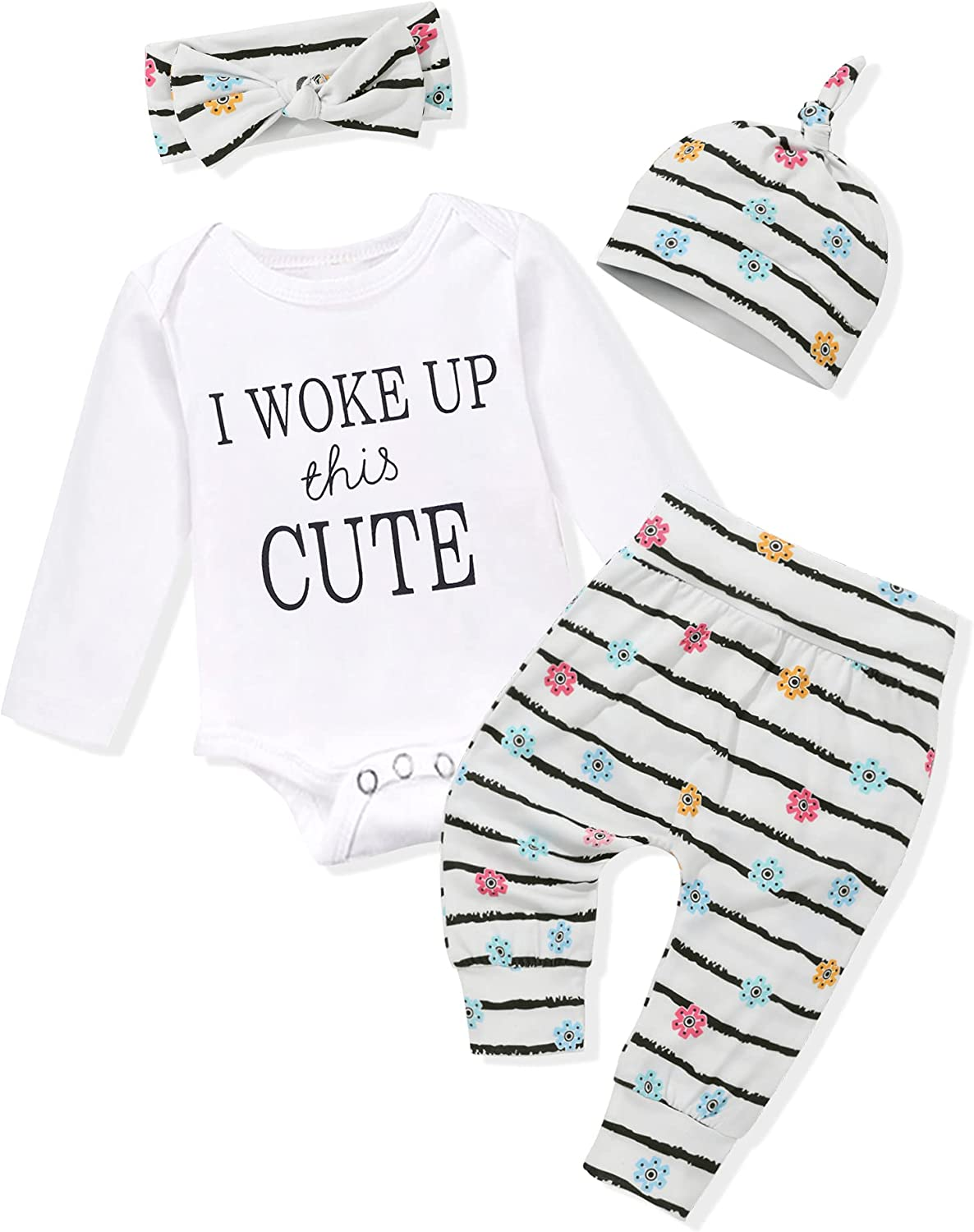 WIQI Newborn Baby Girl Outfits 4PCS Set Long Sleeve Romper Pants Cute Toddler Baby Girl Clothes With Headband
