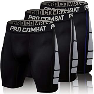 Men's Compression Shorts 3 Pack Quick Dry Sports Tight Shorts Soft Running Pants for Workouts, Training, Gym