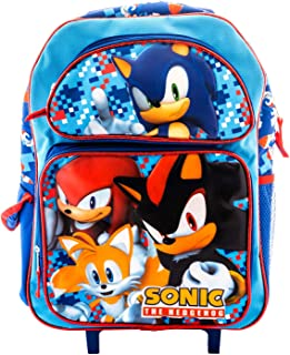 3D Sonic the Hedgehog Rolling Backpack Book Bag Travel Luggage Game Pouch Includes a pack of color pencils