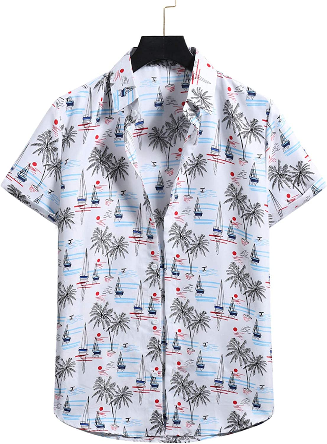 Appoi Men's Hawaiian Shirt Coconut Tree Print Relaxed-fit Button Down Short Sleeve Shirts