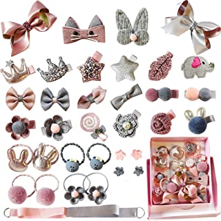 OM KRAFT SALEs Baby Girl's Cute Elastic Bows Hair Clips/Ponytail Holder Set (Assorted Styles) 36 Pieces Pack