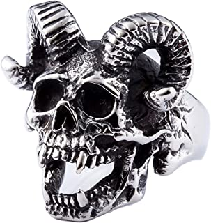 ZMY Mens Fashion Jewelry 316L Stainless Steel Rings For Men Punk Silver Demon Skull Ring