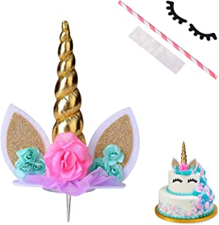 Unicorn Cake Topper,COONOE Handmade Party Cake Decoration Supplies with Eyelashes,Reuasble Gold Horn for Birthday Party,Baby Shower&Wedding
