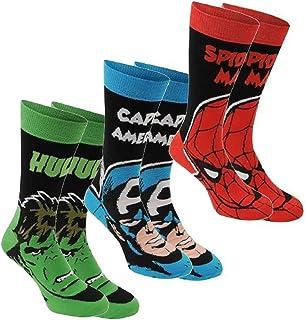 Marvel, para hombre , 3 unidades calcetines de calidad macho de la marca calcetines de algodón elástico