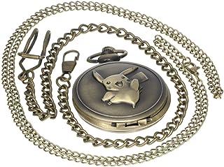 Bronze Pikachu Pokemon Go Vintage Pocket Watch Quartz Necklace Chain Pendant Gift Antique Case 1 PC Necklace 1 PC Clip Key Rib Chain
