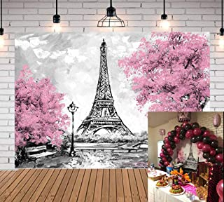 Qian Pink Flowers Trees Eiffel Tower Background Photography Gray Paris Photo Studio Props Banner Wedding Theme Party Backdrops Vinyl 5x3 ft