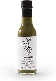 Seed Ranch Flavor Co - Thai Green (Mild-Medium) - Gourmet Organic Hot Sauce with Home-Grown Chili Peppers, Garlic, Lemongrass, Thai Ginger, Cilantro, Basil