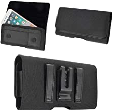DFV mobile - Nylon Case Metal Belt Clip Horizontal Textile and Leather for ALCATEL PIXI 4 (5) - Black