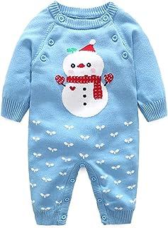 31772ddd53de4 Barboteuse Bébé Pull Grenouillères Pyjamas Manches Longues Combinaisons en  Coton Enfant Outfits Noël Costume
