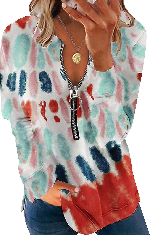Jaqqra Sweatshirts for Women Zip Tie Dye Printing Sweatshirts Long Sleeve Pullover Tops Activewear Running Jacket