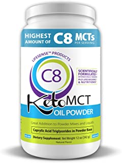 C8 Keto MCT Oil Powder Sourced from Coconut Oil, Zero Corn or Milk Derivatives, Developed in USA by PhD Nutrition, Keto Fr...