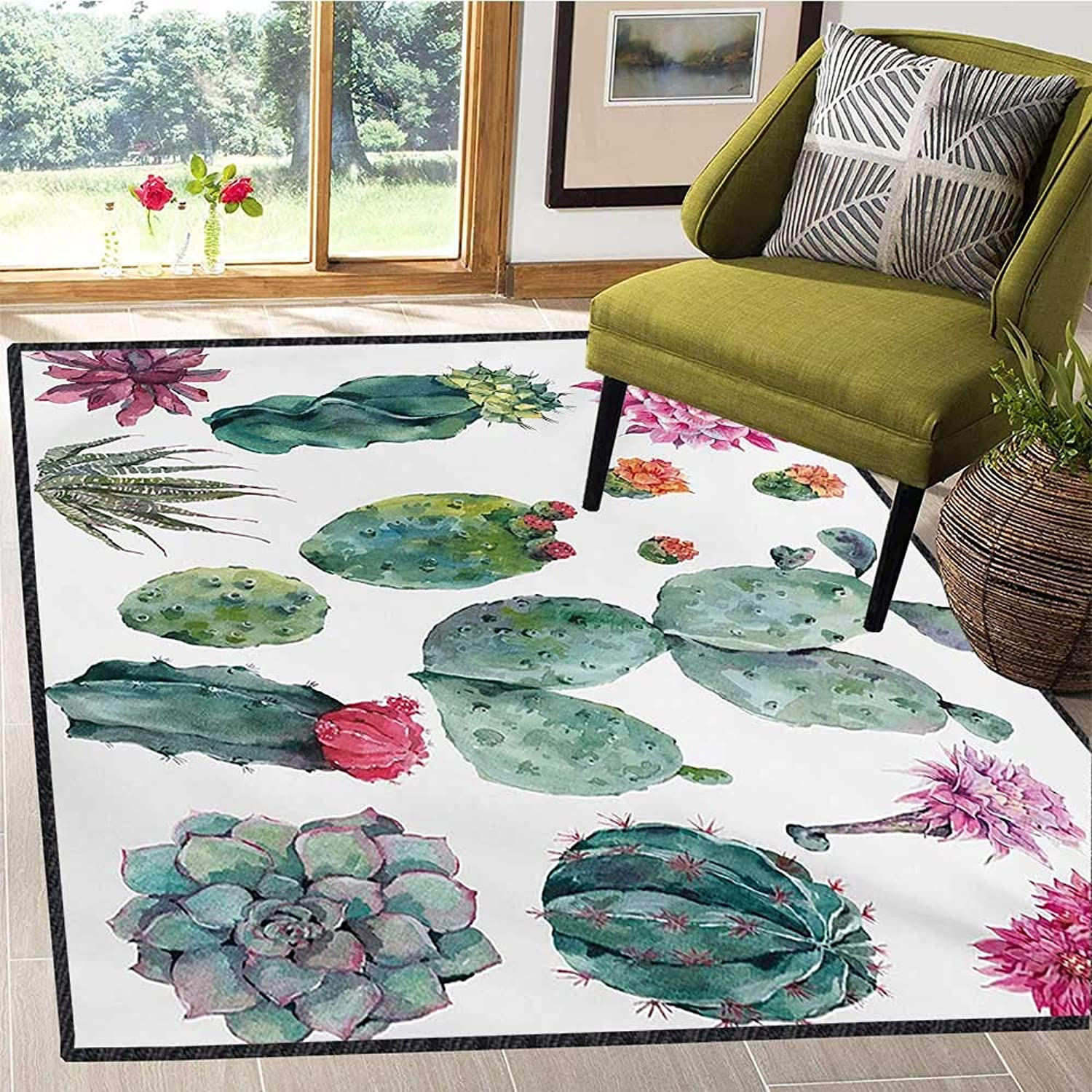 Nature, Door Mats for Inside, Desert Botanical Herbal Cartoon Style Cactus Plant Flower with Spikes Print, Door Mats for Inside Non Slip Backing 6x8 Ft Green and Pink