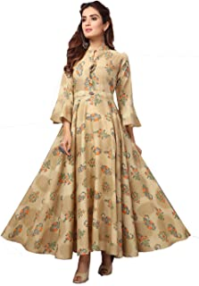 Madhuram Textiles Women's Flower Printed Cotton Anarkali Flared Kurti