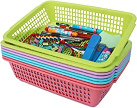 Honla Plastic Storage Baskets Organizer with Built in Handles,Set of 8 in 4 Assorted Colors