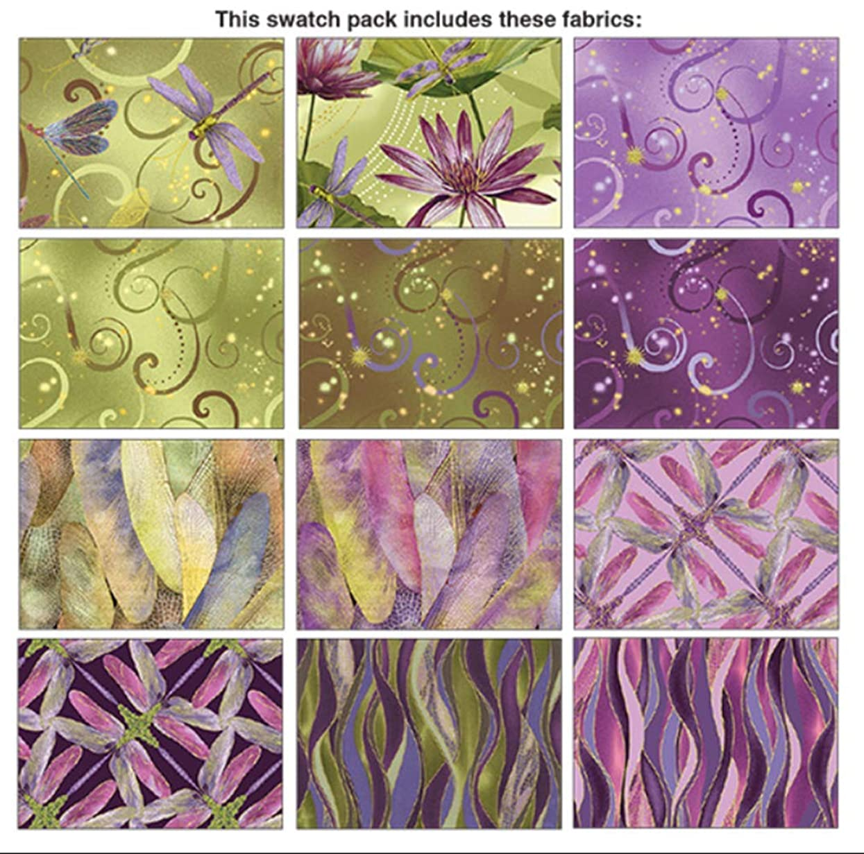 Benartex DANCE OF THE DRAGONFLY 12 Fat Quarters Cotton Fabric Quilting Assortment(Purple)