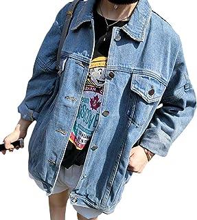 dd6cd7900626d5 Qitun Donna Giacca di Jeans Manica Lunga Lavato Denim Cappotto Fidanzato  Jeans Jacket Giubbotto