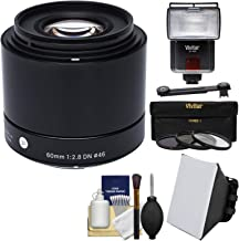 Sigma 60mm f/2.8 DN Art Lens with 3 Filters + Flash + Bounce Diffuser + Soft Box + Kit for Olympus/Panasonic Micro 4/3 Digital Cameras