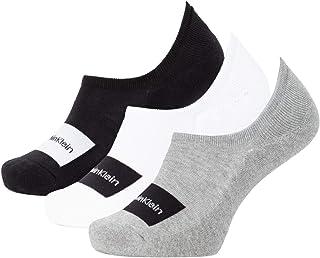 Calvin Klein 3-Pack Logo Patch Men's Liner Socks Gift Bag, Black/White/Grey