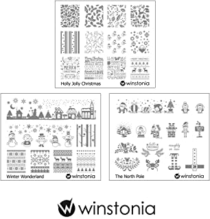 Winstonia Nail Art Stamping Image Plate Bundle Set 10 for Christmas Winter Holiday - Holly Jolly Christmas, Winter Wonderland, The North Pole