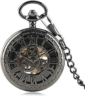 WEHOLY Reloj de Bolsillo Patrón Retro Negro Número Romano Cuerda Manual Reloj de Bolsillo mecánico Esqueleto Hueco Vintage...