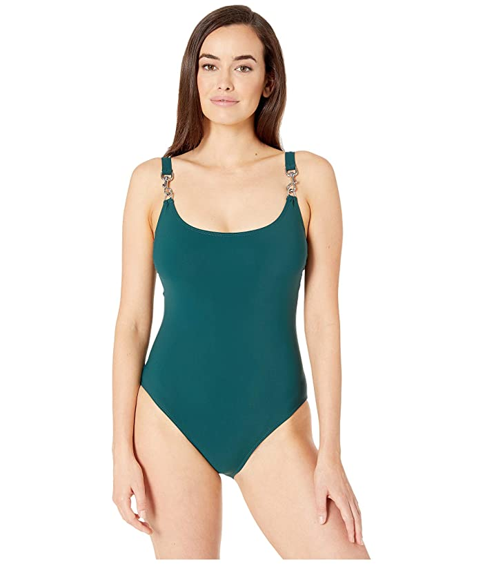 Tory Burch Swimwear Clip Tank Suit (Equestrian Green) Women