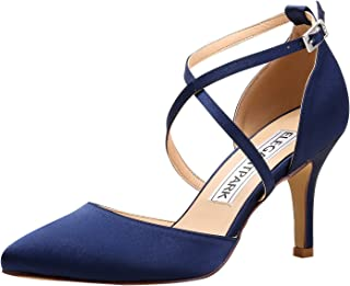 HC1901 Women Pointed Toe High Heel Pumps Straps Satin Wedding Bridal Evening Party Dress Shoes
