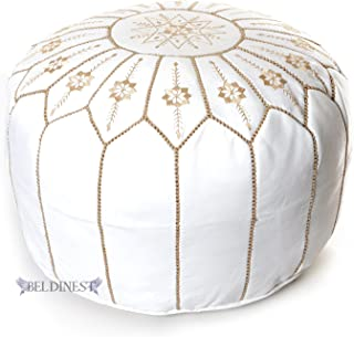 Stuffed Moroccan Ottoman Leather Pouf Handmade Pouffe, Hassock, Tuffet, Foot Stool, Seating Foot Rest (Whilte/Jasmine)