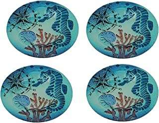 Set of 4 Coastal Blue Seahorse Round Art Glass Salad Plates