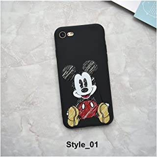 Cute Cartoon Mickey Minnie Mouse Strike Glass Cover Soft TPU Silicone Case for iPhone Case Cover for I Phone XR (I Phone XR / Style_01)