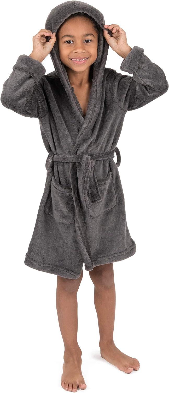 Leveret Kids Robe Boys Girls Solid Hooded Fleece Sleep Robe Bathrobe (2 Toddler-16 Years) Variety of Colors: Clothing
