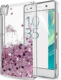 3d33e0ab2fa LeYi Funda Sony Xperia XA Silicona Purpurina Carcasa con HD Protectores de  Pantalla,Transparente Cristal