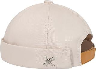قبعة صوفية ربيعية بلون سادة للرجال والنساء من Wuhanahandoudm إكسسوارات حروف معدنية ريترو قطن قابل للتعديل (اللون: بيج)