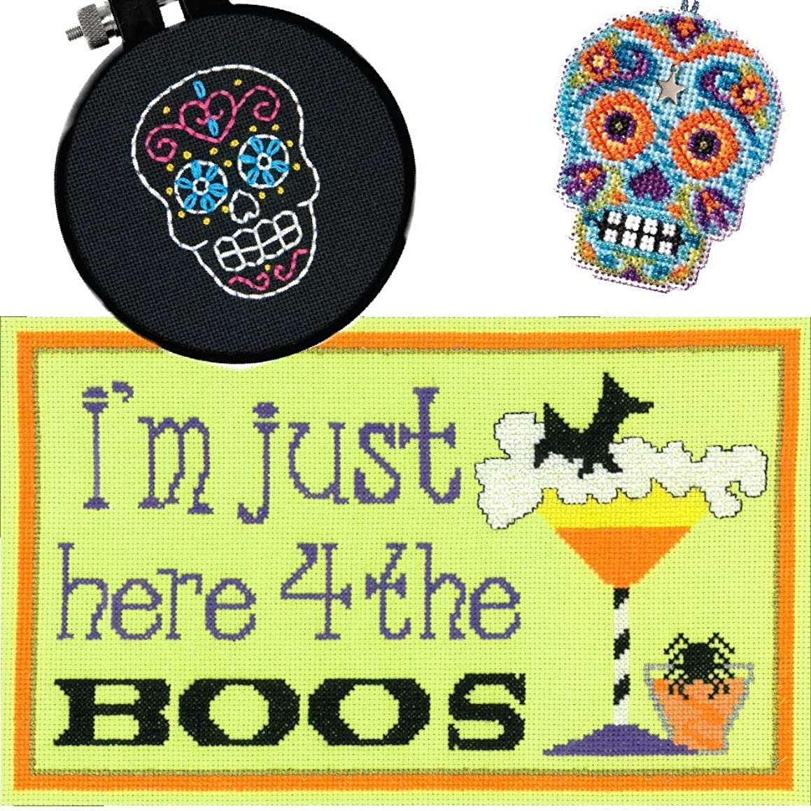 3 Item Cross Stitch Halloween Bundle - Here 4 The Boos, Counted Glass Bead Skull Kit with Charm Azul and Easy Skull Kit