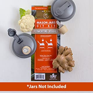 reCAP Mason Jars DIY Kit for Fermenting, Wide Mouth – BPA-Free, American Made Ball Mason Jar Fermenting Lids, Includes 2 POUR lids and 2 Fermenters, Spill Proof and Made with Safe, No-Break Materials