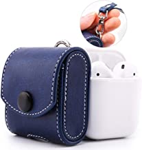 MoKo Case Fit AirPods 1/AirPods 2, Snap Closure Protective Cover Carrying Pouch Pocket, with Holding Strap, for Apple AirPods 1 & AirPods 2 Charging Case - Indigo