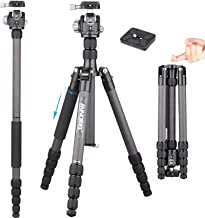 INNOREL 62 inches 10 Layers Carbon Fiber Camera Tripod Monopod with 360 Degree Low Gravity Center Ball Head, two 1/4 inch ...