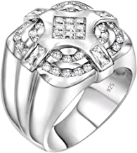 Men`s Sterling Silver .925 Ring with Invisible Set Center Cubic Zirconia (CZ) Stone Surrounded by 36 CZ Stones, Platinum Plated