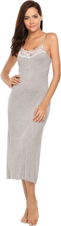 goldenfox Womens Low Back Sleepwear Full Slips Lace Nightgown Sling Dress SXL
