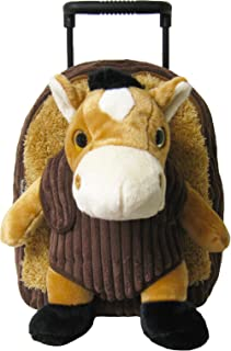 Kreative Kids Adorable Brown Horse Plush Rolling Backpack w/Shiny Eyes, Removable Stuffed Toy & Wheels