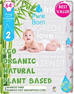 PureBorn Disposable Baby Diapers, Size 2 - 3 to 6 Kg - 64 Count - Kisses