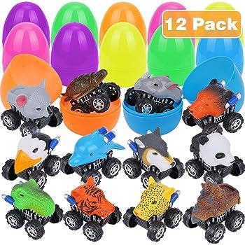 Acekid Easter Eggs Filled with Pull Back Vehicle 12pcs Kids Cartoon Construction Cars Set Basket Stuff Fillers for Boys /& Girls Easter Eggs Hunt Easter Theme Party Favor