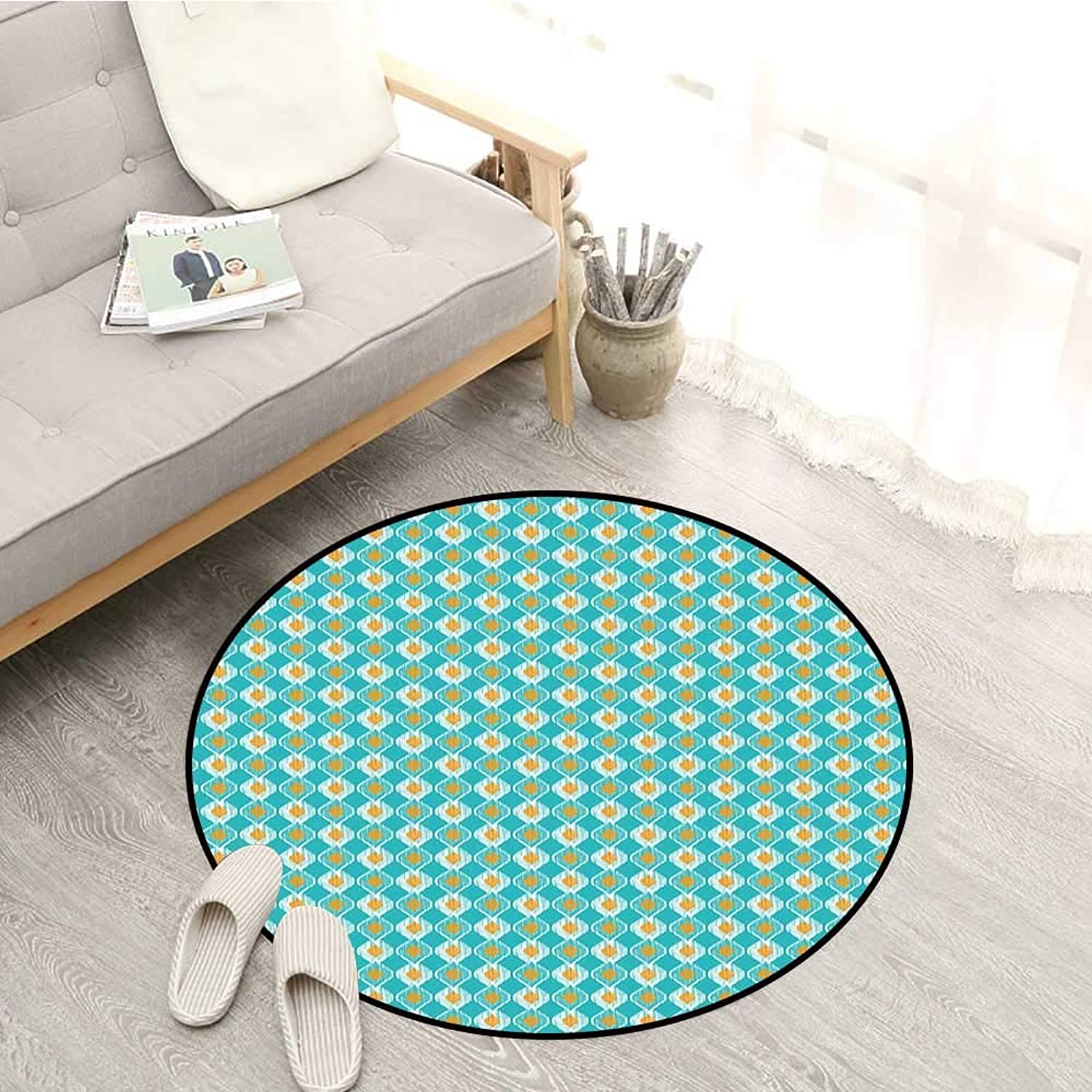 Ikat Carpets Soft Oval Shapes Pattern with African Civilizations Inspirations Lined Motifs Sofa Coffee Table Mat 4'3  Turquoise Marigold