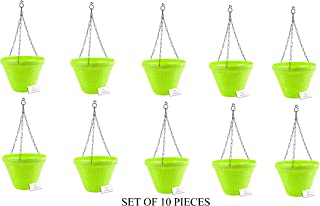 Unique Plastic Hanging Pot with Metal Chain (Green, Pack of 10)