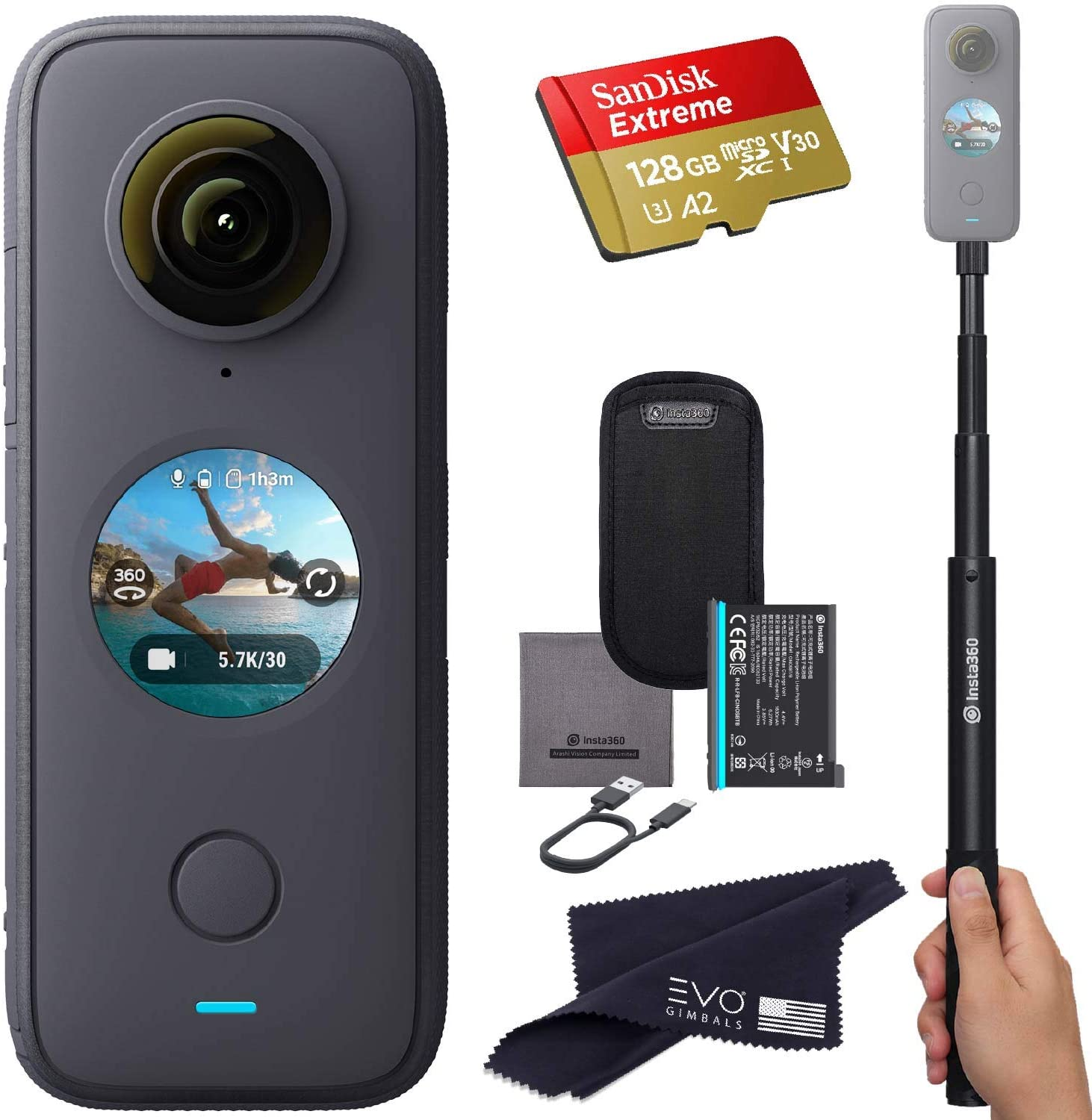 Insta360 ONE X2 360 Camera with Touchscreen - 5.7K30 360 Video, Front Steady Cam Mode, 18MP 360 Photo + InstaPano | Bundle Includes Invisible Selfie Stick (120cm) & 128GB Memory Card (3 Items)
