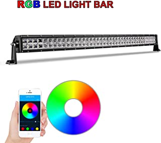 RGB LED Light Bar, 42 inch AKD Part 240W Multicolor Light Bar with Wiring Harness CREE Bluetooth LED Work Lights Chasing Color LED Bar Flood Spot Combo Light 5D For Jeep Truck Pickup ATV UTV Boat