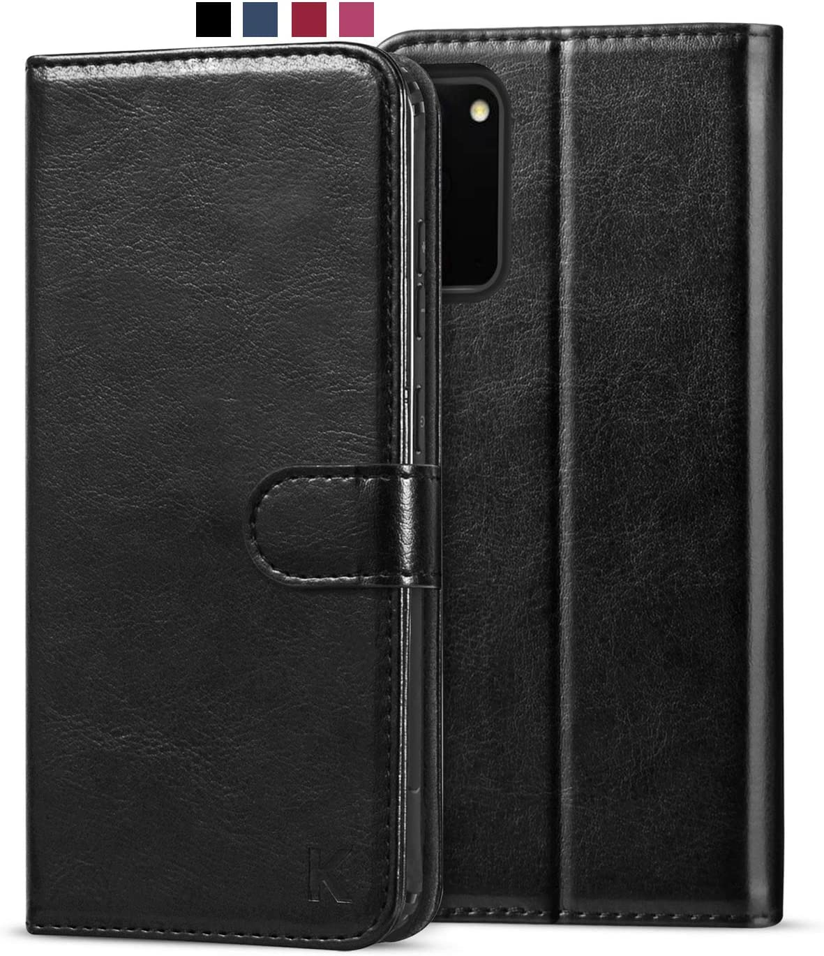 KILINO Samsung Galaxy S20 Wallet Case [PU Leather] [Soft TPU] [RFID Blocking] [Shock-Absorbent Bumper] [Card Slots] [Kickstand] [Magnetic Closure] Flip Folio Cover for Samsung Galaxy S20 5G (Black)