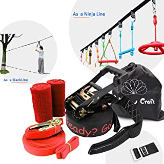 Rainbow Craft Ninjaline Slackline for Obstacle Course Set, with Removable Loops for Kids Backyard Outdoor Play - Black Color Black Loops