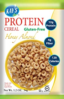 Kay's Naturals Protein Breakfast Cereal, Honey Almond, Gluten-Free, Low Carbs, Low Fat, Diabetes Friendly All Natural Flavorings, 1.2 Ounce (Pack of 6)